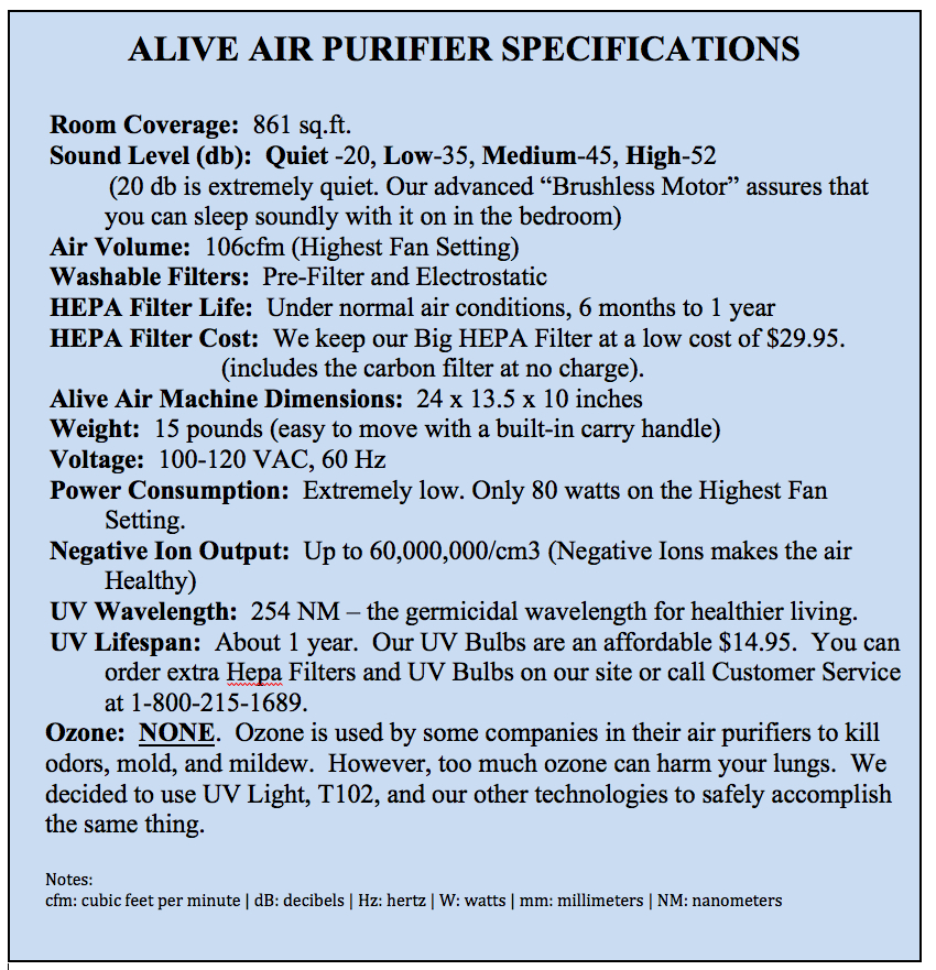 alive air purifier specifications