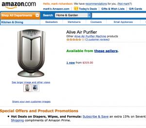 Alive Air Purifier on Amazon.com
